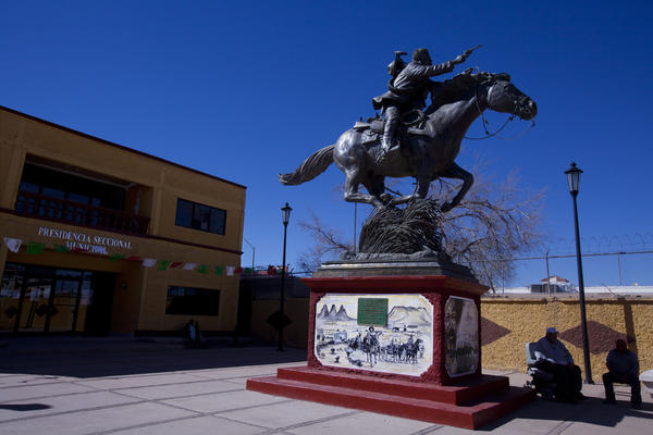 A statue of Pancho Villa in front of the municipal building in Palomas, Mexico.