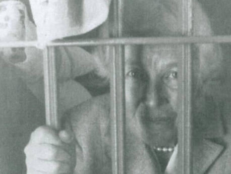 Mary Peabody poses in the St. Johns County Jail on a return visit to St. Augustine, Fla.