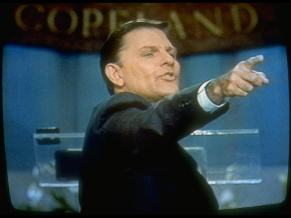 Television evangelist Kenneth Copeland during a broadcast of his TV show in 1990.