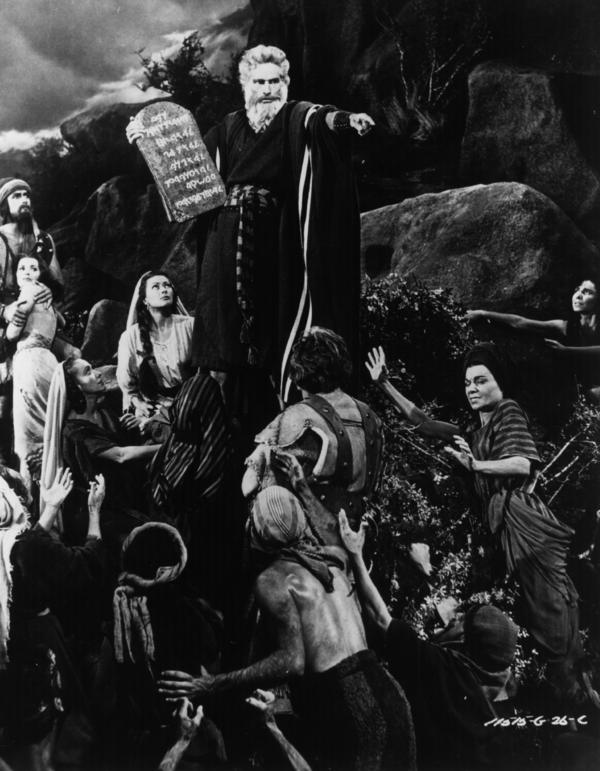 "Charlton Heston starred as Moses in <em>The Ten Commandments </em>in 1956. Cecil B. DeMille's film ""was really a Cold War film,"" says professor William Romanowski. ""And he, at the beginning of the film, comes out from behind a curtain and stands on a stage and announces that this is the story of the beginning of the birth of freedom."""