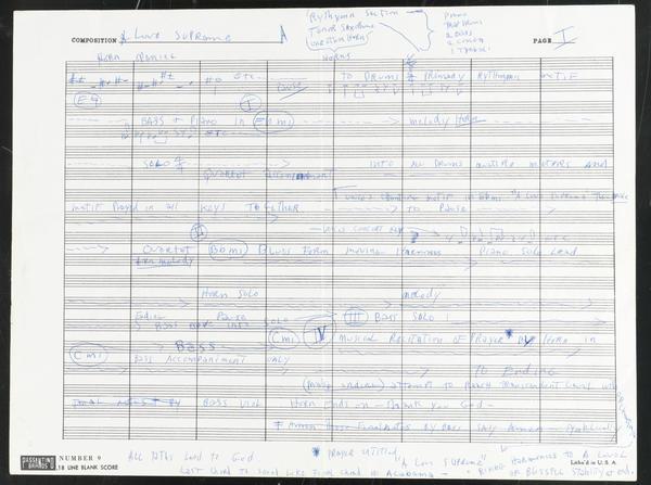 John Coltrane's handwritten outline of <em>A Love Supreme.</em>