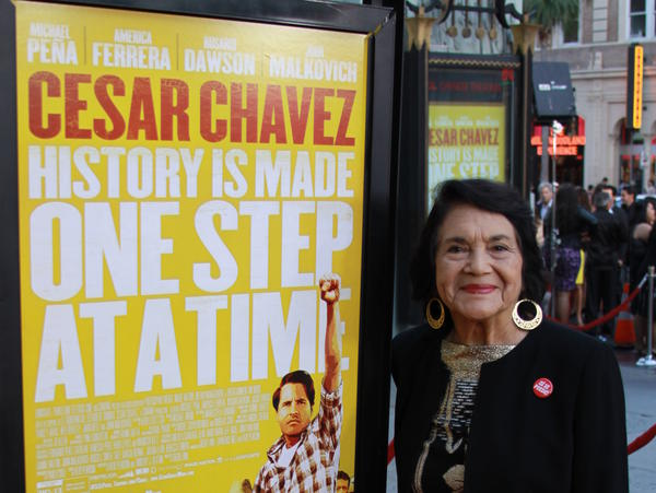 Dolores Huerta, now 83, co-founded the United Farm Workers union with Cesar Chavez.