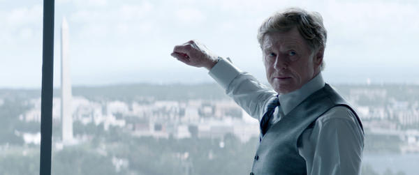 Robert Redford at S.H.I.E.L.D. HQ, with Washington — the city and the monument — in the background.