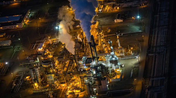 A few years ago, the U.S. was expecting to be dependent on natural gas imports from countries such as Qatar. Now, it's relying more and more on domestic supplies. Here, an aerial view of a gas and oil refinery in Bismarck, N.D.
