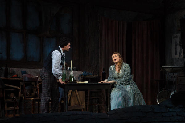 ... only to get a phone call at 7:30 a.m. Saturday asking her to fill in at the matinee performance of Puccini's <em>La bohème</em>, singing the lead role of Mimi, pictured here with Vittorio Grigolo as Rodolfo.