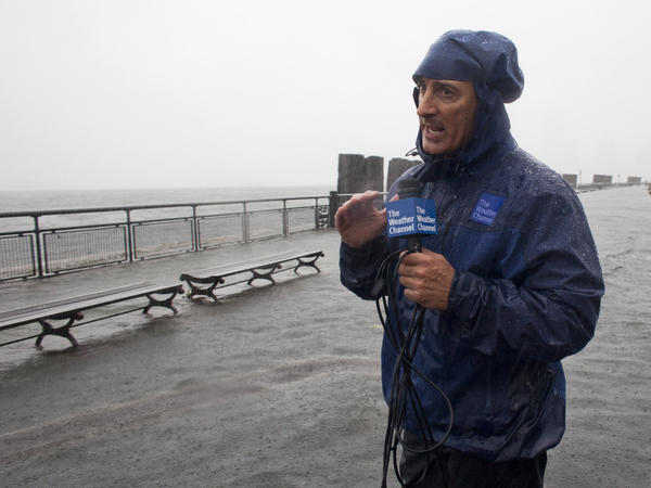 The Weather Channel's Jim Cantore reporting from Manhattan's Battery Park during Hurricane Irene in August 2011.