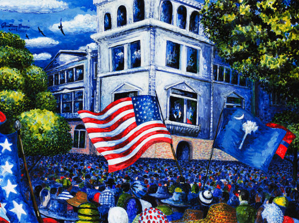 This painting, by artist Jonathan Green, captures the scene outside the Charleston Federal Courthouse on the day oral arguments were heard in the <em>Briggs v. Elliott </em>case challenging racial segregation in public schools.
