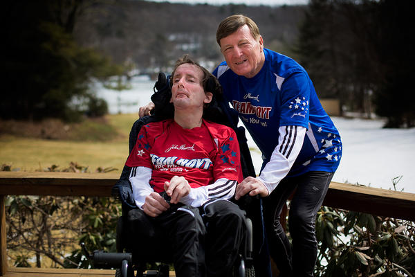 Rick and Dick Hoyt, Boston Marathon stalwarts since 1981, by the Hamilton Reservoir behind their home in Holland, Mass. (Jesse Costa/WBUR)