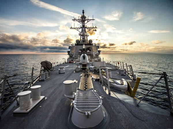 The USS Donald Cook, a guided-missile destroyer, on patrol Saturday in the Black Sea.