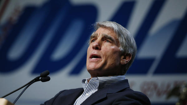 U.S. Sen. Mark Udall, D-Colo., accepts his party's nomination to run for re-election to his seat during the Colorado Democratic Party's State Assembly in Denver on Saturday.