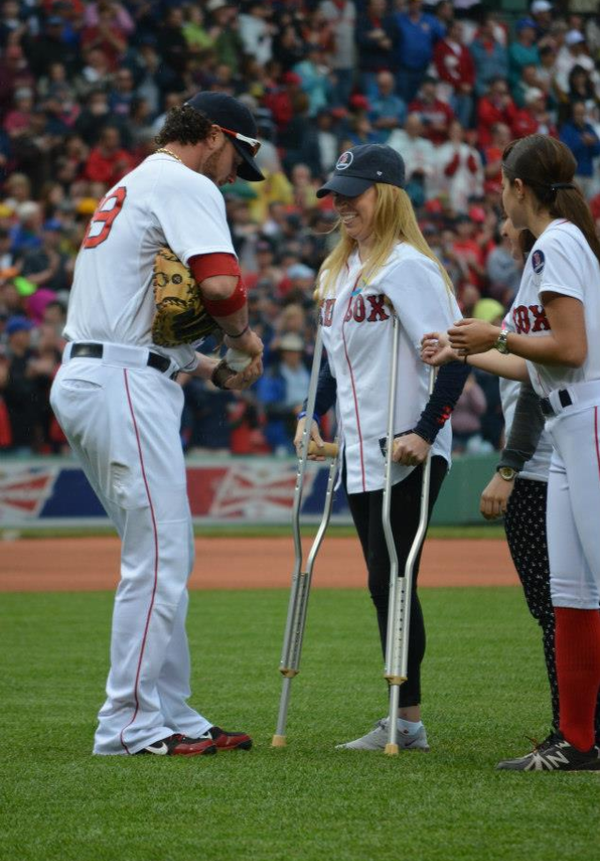 Last year, Abbott threw out the first pitch at Fenway Park as her friends cheered from the sidelines.