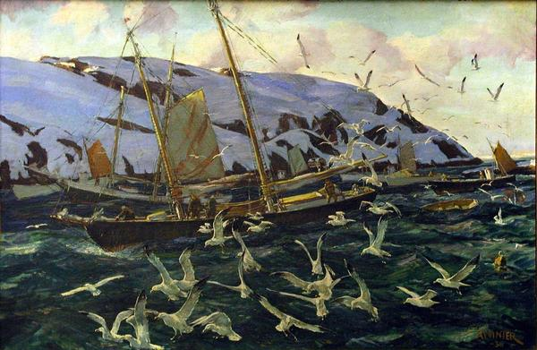 Andrew Winter's <em>Gulls at Monhegan</em> was lost after it was given — wrongly — to an American ambassador to Costa Rica when he retired.