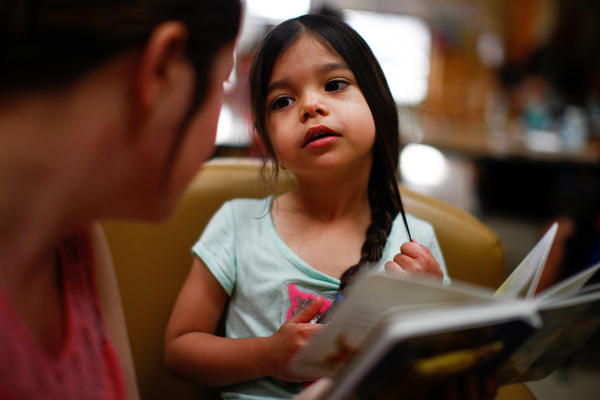 After dropping Kyndall off at preschool, Tiffany Contreras heads straight to class at Tulsa Community College.
