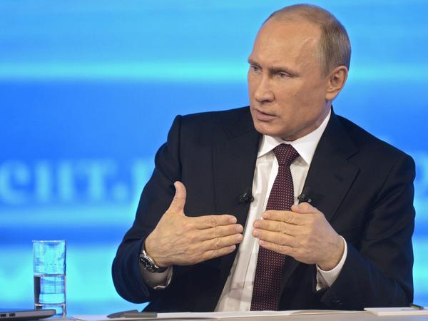 Russian President Vladimir Putin as he answered questions on national TV Thursday in Moscow.
