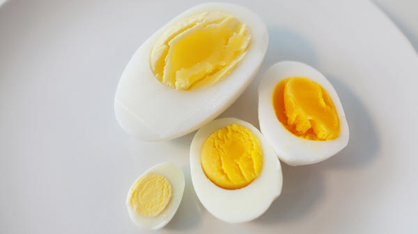From left: The yolks of quail, chicken, duck and goose eggs.