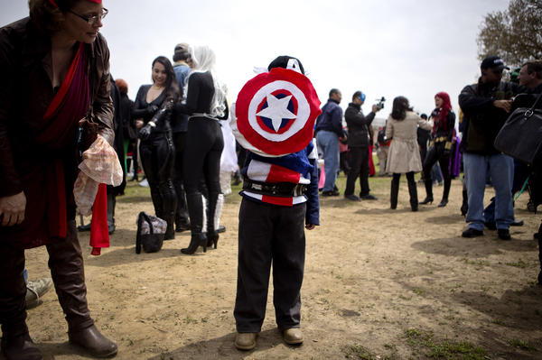 Five-year-old Pilot Jack Henderson poses as Captain America.