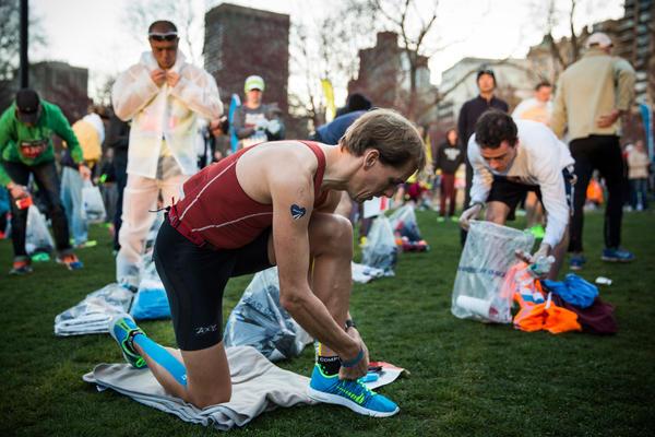 Runners prepare in Boston Common.