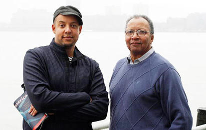 African-American children's book authors Walter Dean Myers (right) and his son Christopher Myers are both concerned about the lack of diversity in children's literature. (Malin Fezehal)