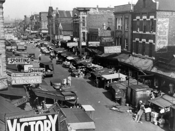 Maxwell Street, a teeming marketplace of Chicago's ghetto, on July 22, 1939.