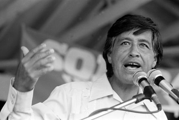 Cesar Chavez, co-founder of the United Farm Workers, speaks at a rally in 1977.