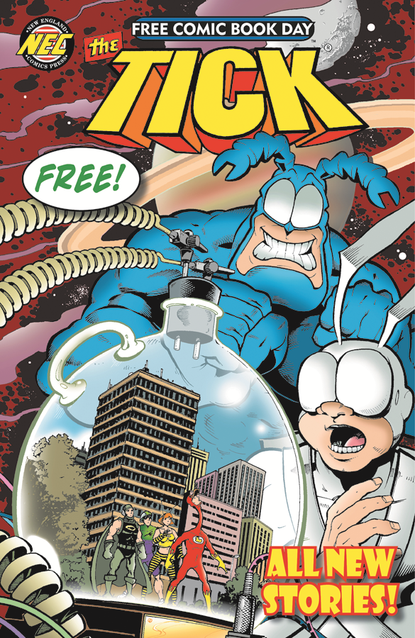 "The cover of <em>The Tick</em>, one of many --€"" 57, in fact --€"" comics you may be able to snag at no charge on Saturday, Free Comic Book Day."