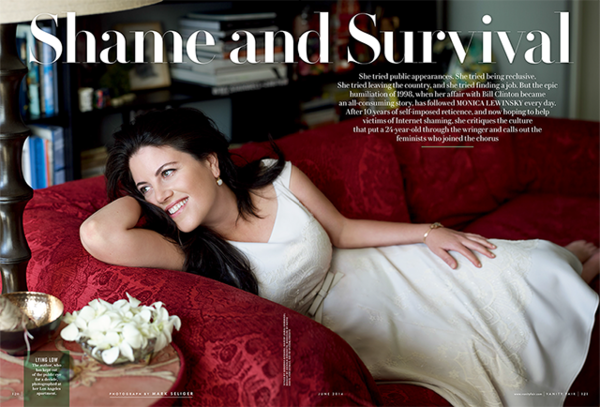 Monica Lewinsky is pictured in a photograph by Mark Seliger on VanityFair.com. (Screenshot)