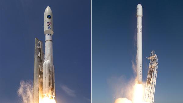 Atlas V (left); Falcon 9 (right)