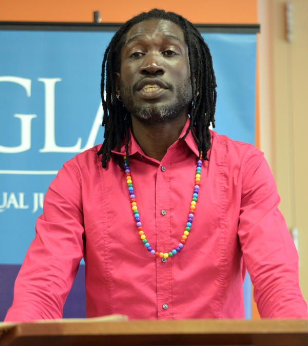 At a news conference in Boston on May 6, Ugandan LGBT activist John Abdallah Wambere says he is seeking asylum in the U.S.