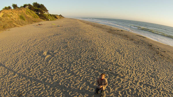 Merrill uses a drone to take aerial shots of Santa Cruz, Calif.