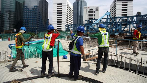 Indonesian workers at a construction site in the capital Jakarta on Nov. 25. Indonesia has the largest economy in southeast Asia and has generally had strong growth in recent years.