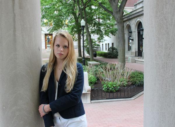 Lexie Brackenridge at her new college, Columbia University, on Monday (Courtesy Sara Romano)