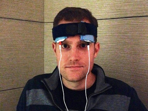 Jared Seehafer wearing his homemade tDCS device.