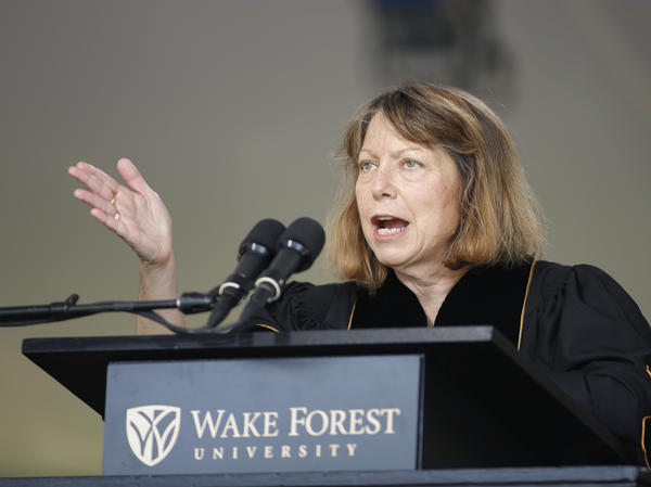 Jill Abramson, former executive editor of <em>The New York Times</em>, speaks at the commencement ceremony at Wake Forest University on Monday.