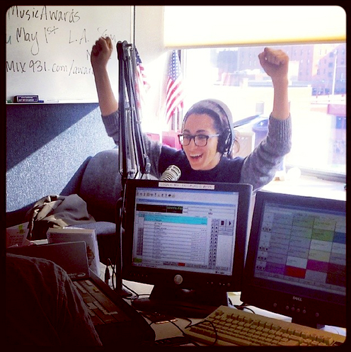"Michelle Chamuel posted this photo on Facebook with the note, ""This is what it looks like to hear your song, 'Go Down Singing' in your home state for the first time. Thanks Mix 93.1."" (Facebook)"
