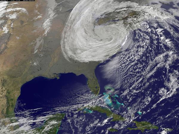 A satellite image provided by NASA shows Superstorm Sandy on Oct. 30, 2012.