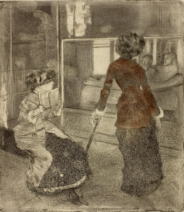 Degas frequently painted and sketched Cassatt. Above, he captures her at the Louvre, in 1879-1880.