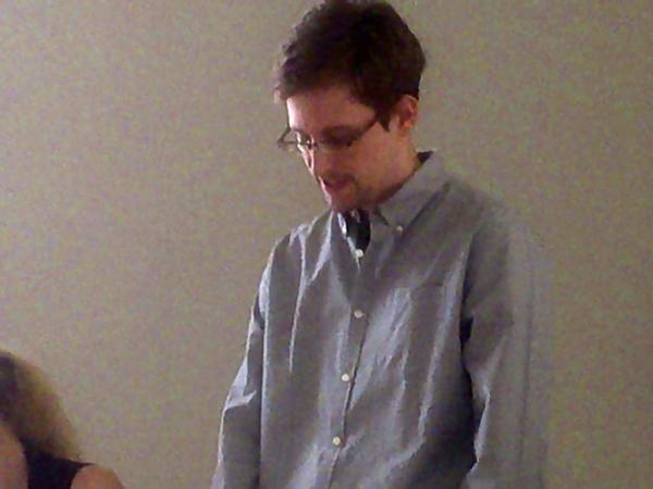 NSA leaker Edward Snowden during a meeting with Russian activists and officials at Sheremetyevo airport, shortly after he first arrived in Russia last year.