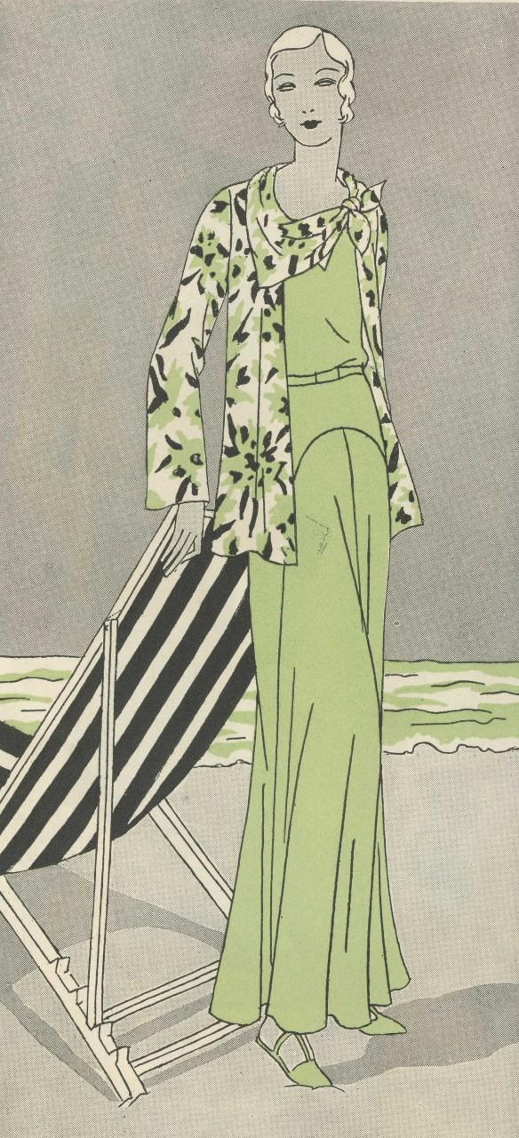 Beach Pajamas were the first pants that women did not wear out of practical necessity. (Vogue Pattern Book, April-May 1931. Vogue ® V5572, Vogue ® V5545, images courtesy of the McCall Pattern Company.)