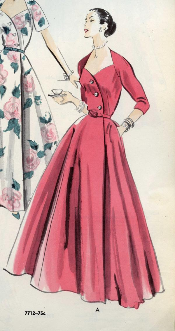 The housecoat in 1952 was for an evening or brunch at home with intimates. Vogue Patterns catalog, September 1952. (Vogue ® V7712 image courtesy of the McCall Pattern Company.)
