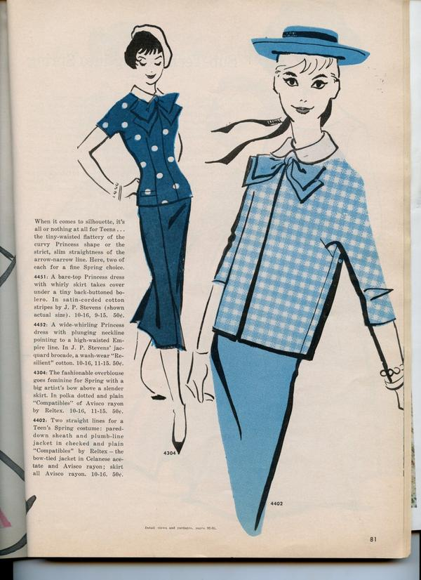 Spring suits for juniors anticipated their future status as grown women.  (McCall's Pattern Book, Spring 1958. McCall's ® M4304, McCall's ® M4402 images  courtesy of the McCall Pattern Company.)