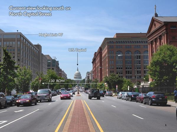 Existing conditions along North Capitol Street looking towards the U.S. Capitol Building.  (Background modeling images prepared by the District of Columbia Office of Planning)