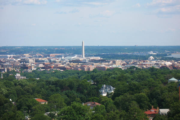 This view from the observation level of Washington National Cathedral, looking toward the Capitol, shows D.C.'s characteristically low skyline compared to other large cities -- with the exception of the Washington Monument. (Mr. TinDC/Flickr)