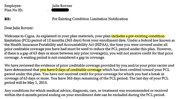 Cigna's letter to Julie Rovner saying she had no proof of past coverage, so limitations based on pre-existing conditions could apply. (Highlights added.)