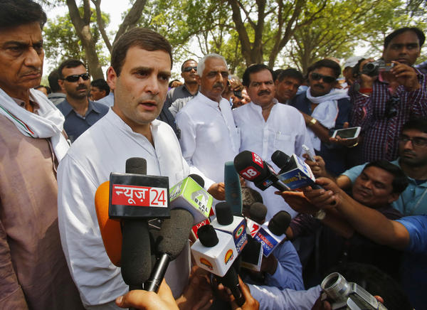 Standing near the spot where the girls died, the Indian Congress party's vice president, Rahul Gandhi, called for justice after visiting the girls' family on Saturday.