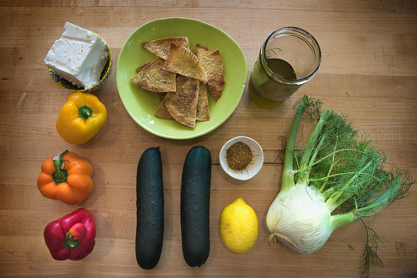 Ingredients for a Middle Eastern Chopped Salad with Za'tar Pita Chips. (Jesse Costa/WBUR)