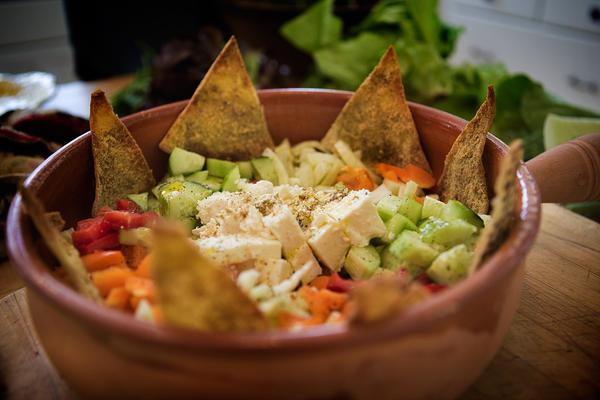 Middle Eastern Chopped Salad with Za'tar Pita Chips. (Jesse Costa/WBUR)