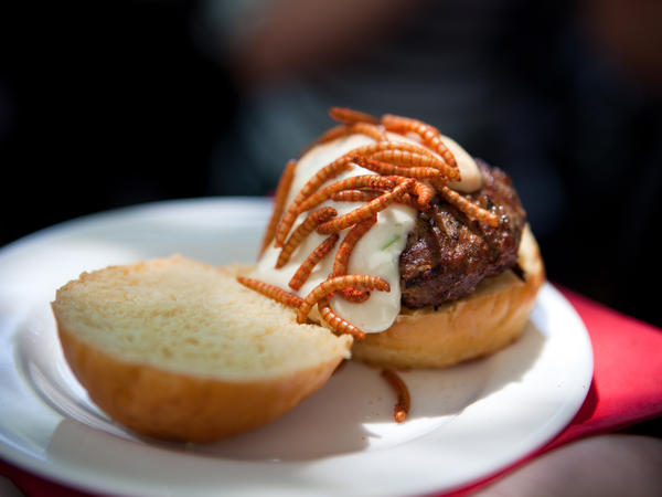 A Grasshopper Burger topped with Mexican spice mealworms.