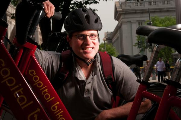 """Tom Suppan, a """"bicyclist by nature,"""" rarely rides without a helmet. """"I've fallen too often not to wear one,"""" he says. """"If I hadn't had the helmet on, I'd have been in bad shape."""""""
