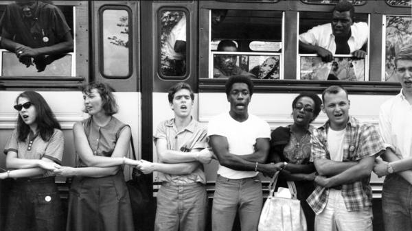 Freedom Summer activists sing before leaving training sessions at Western College for Women in Oxford, Ohio, for Mississippi in June 1964.