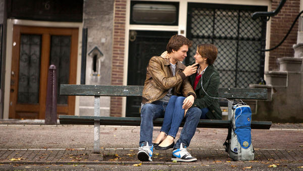 In <em>The Fault in Our Stars</em>, Gus and Hazel, played by Ansel Elgort and Shailene Woodley, play two teenagers with cancer.